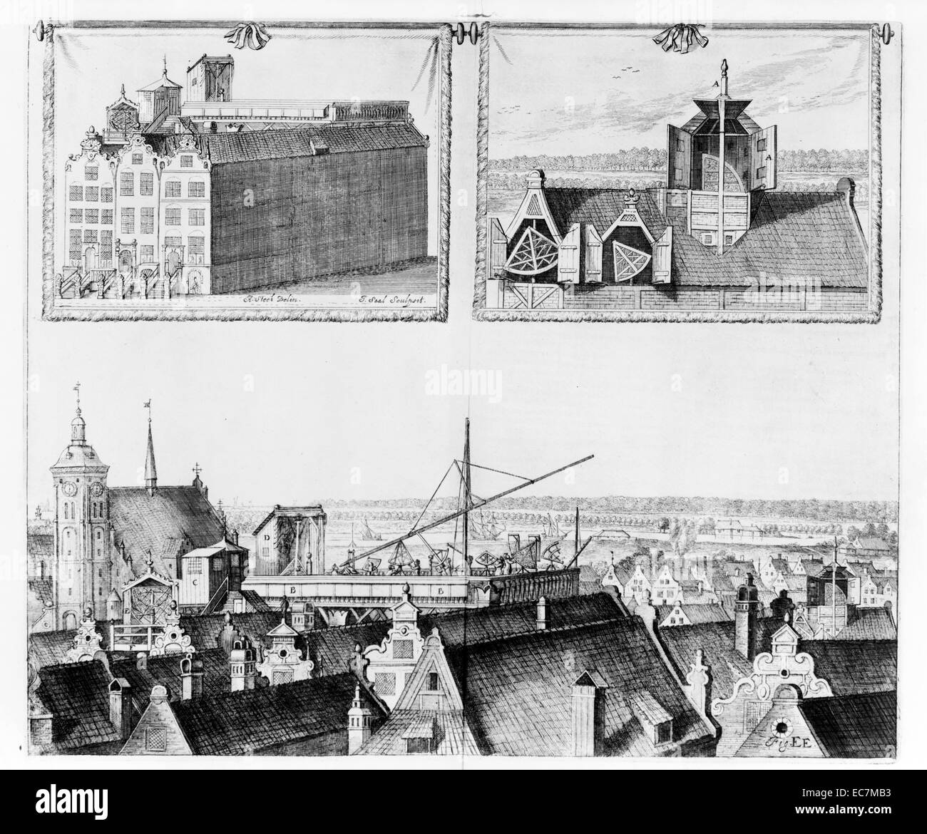 A rooftop astronomical observatory in Danzig, Germany, 1676. - Stock Image