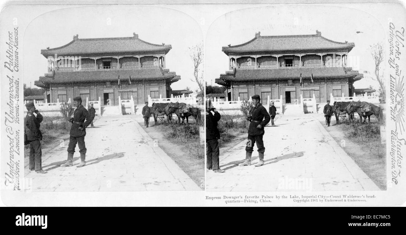 Empress Dowager's favourite palace by the lake, Imperial City - Count Waldersee's headquarters, Peking, - Stock Image