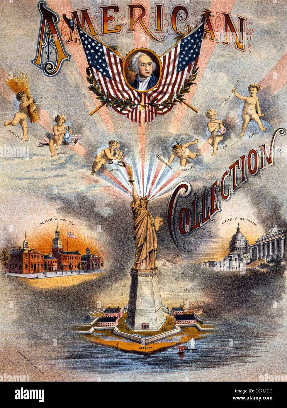 American collection. Proof with registration marks for sheet music cover for the 'American Collection' showing - Stock Image