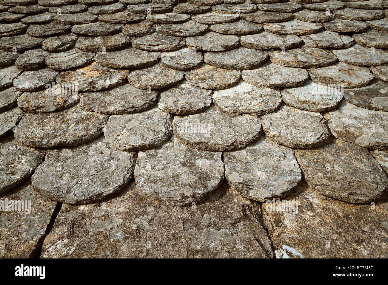 traditional schist roof cevennes, France. - Stock Image