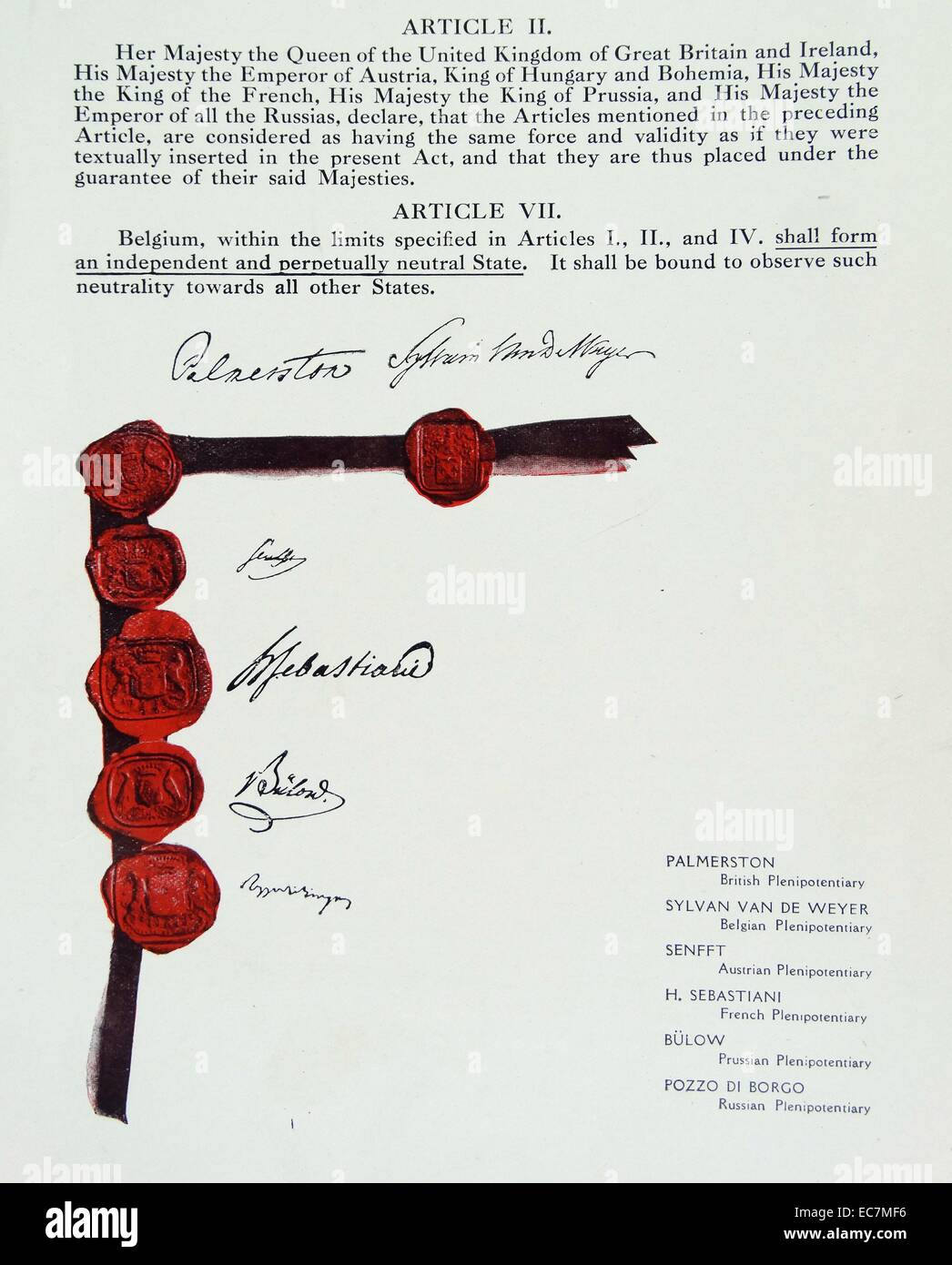 The Treaty of London signed on 19 April 1839 - Stock Image