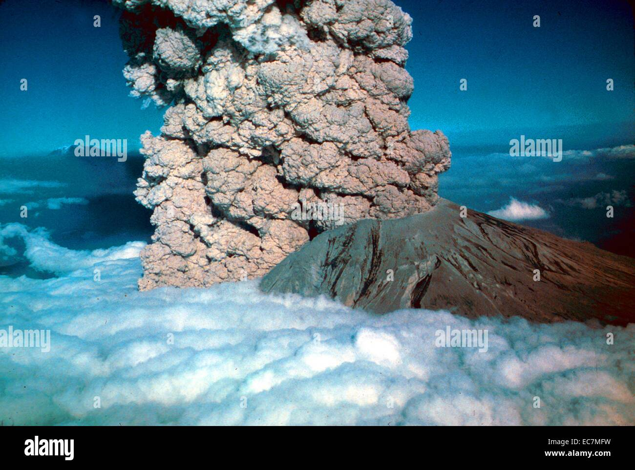 volcanic eruption occurred at Mount St. Helens - Stock Image