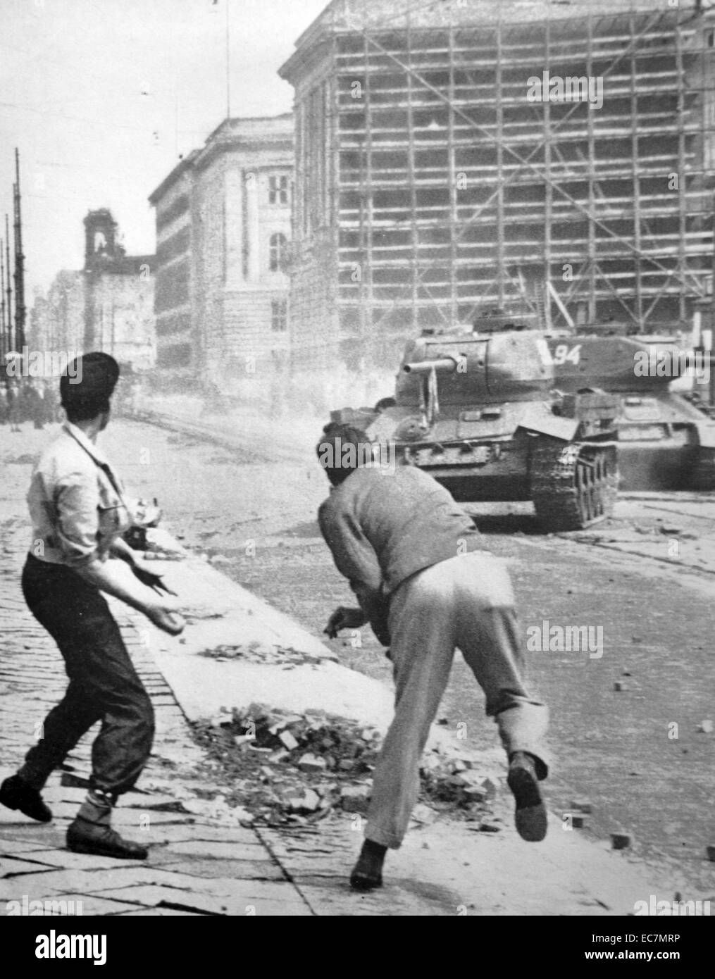 The Uprising of 1953 in East Germany was violently suppressed by tanks of the Group of Soviet Forces - Stock Image