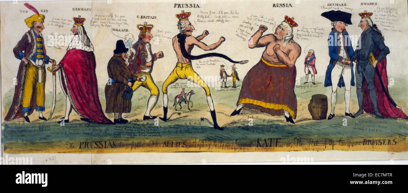 The Prussian prize-fighter and his allies attempting to tame imperial Kate, or, the state of the European bursiers. - Stock Image