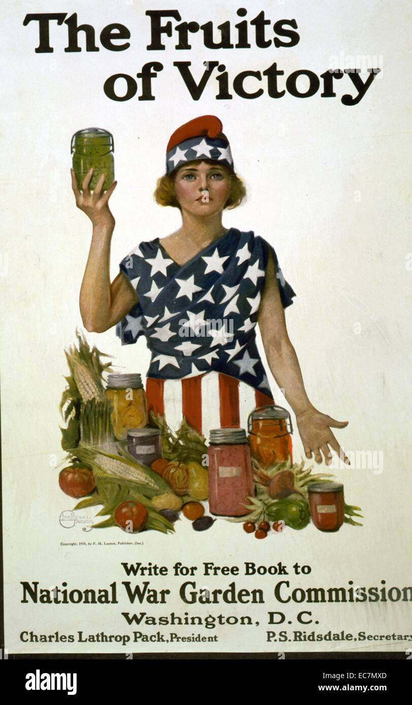 The fruits of victory. Woman dressed in stars and stripes with vegetables and jars of preserved food. - Stock Image