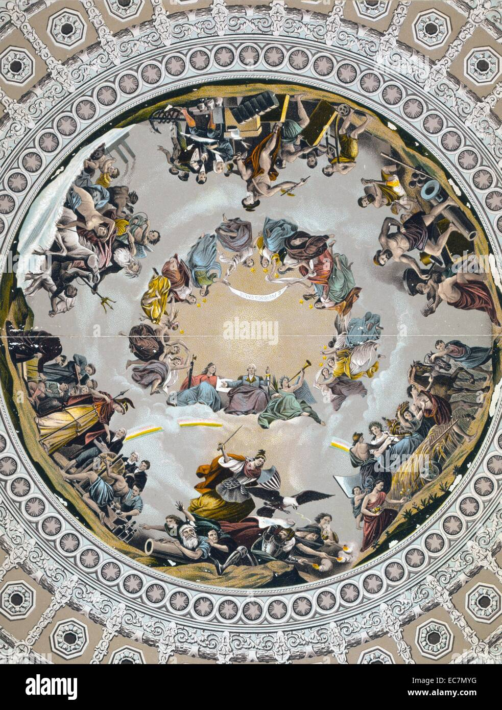 Brumidi's allegorical painting, in dome of U.S. Capitol - Stock Image