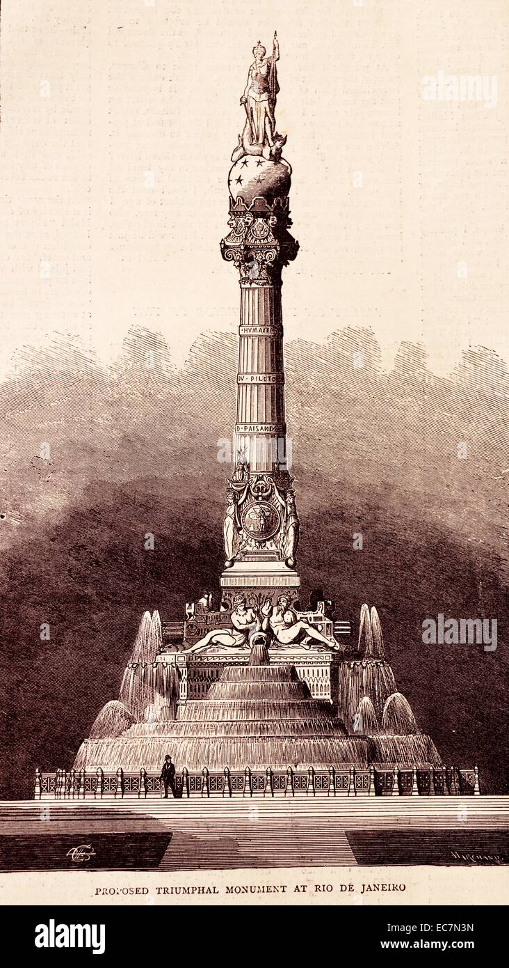 Engraving of a proposed triumphal monument at Rio de Janeiro, Brazil. Dated 1870 - Stock Image