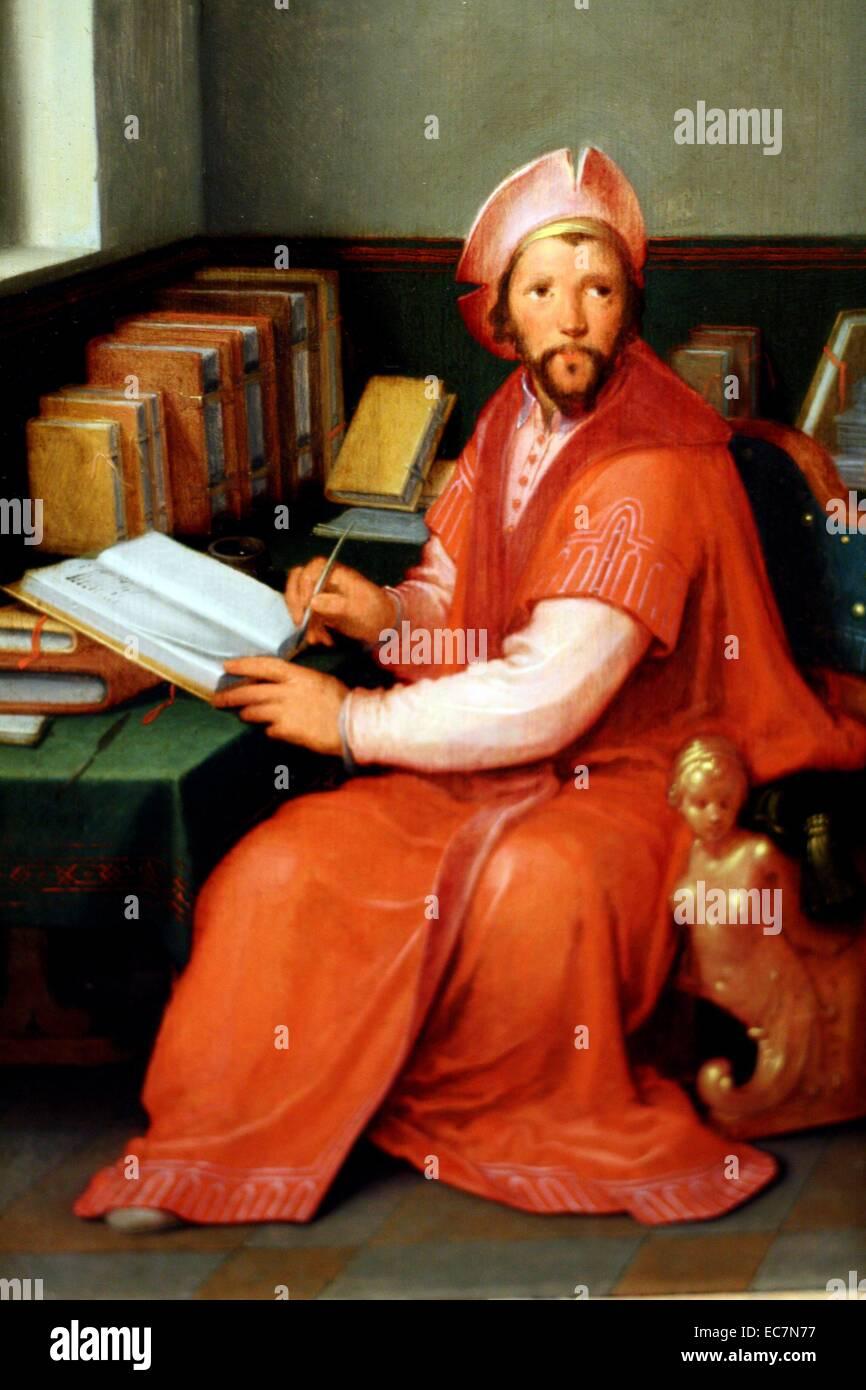 A Scholar in his Study by Cornelis Cornelisz Van Haarlem. - Stock Image