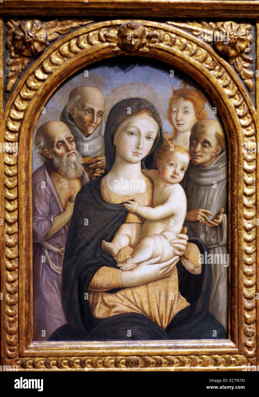 The Virgin Child with Four Saints by Pietro Orioli . - Stock Image