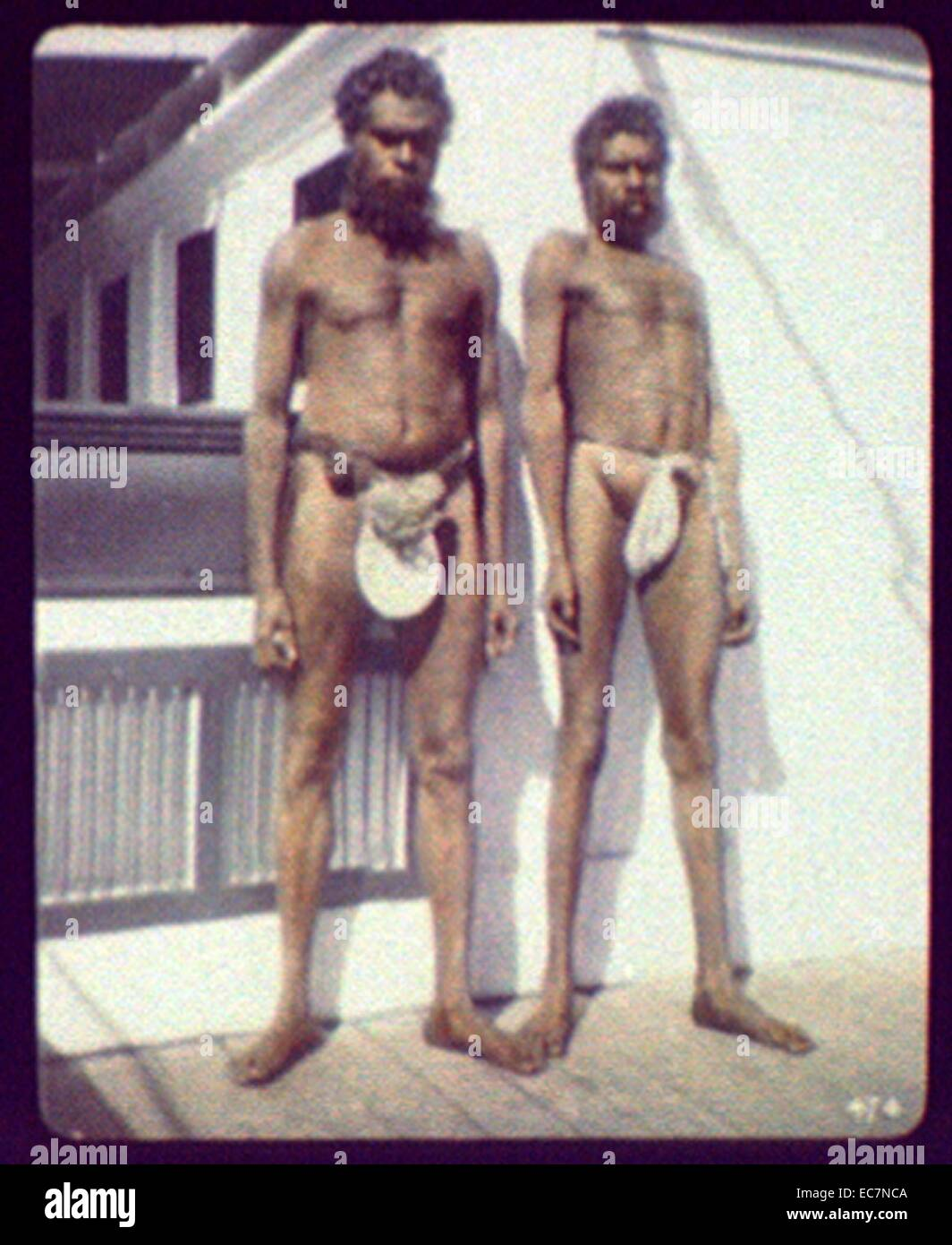 Two aborigines of the Worki tribe, Gilbert River, N. Queensland - Stock Image
