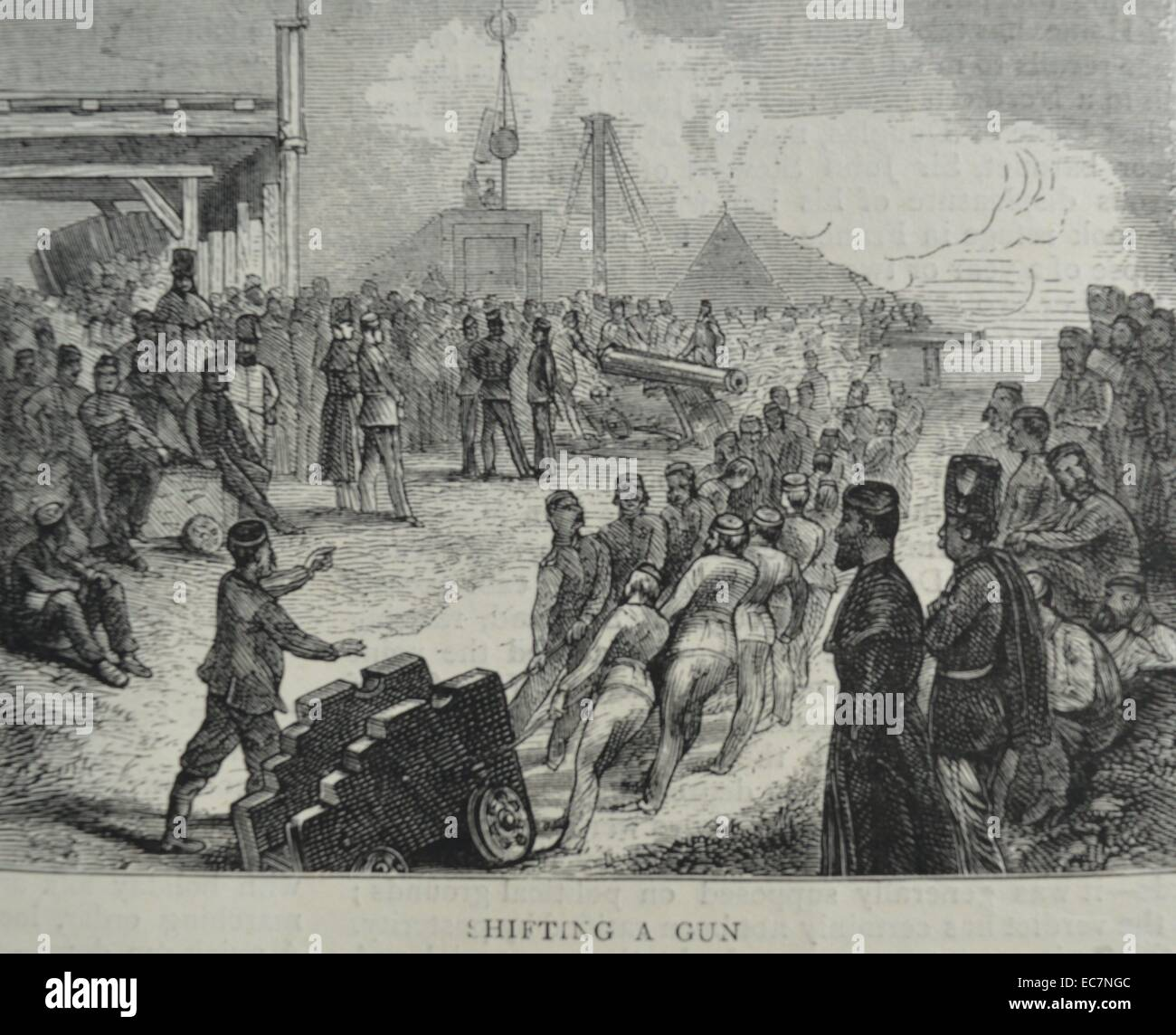 Engraving depicting a cannon holder being moved. Dated 1870 - Stock Image