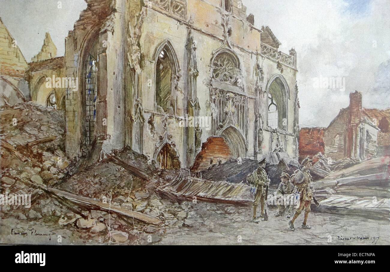 Église Saint-Jean-Baptiste de Péronne, destroyed between 1917 - Stock Image