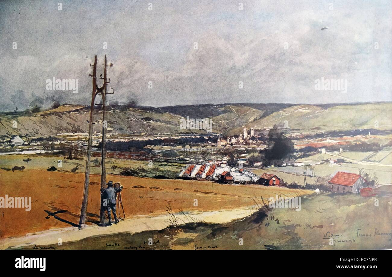 Verdun, vue of the fort de la Chaume, France, during World war One - Stock Image