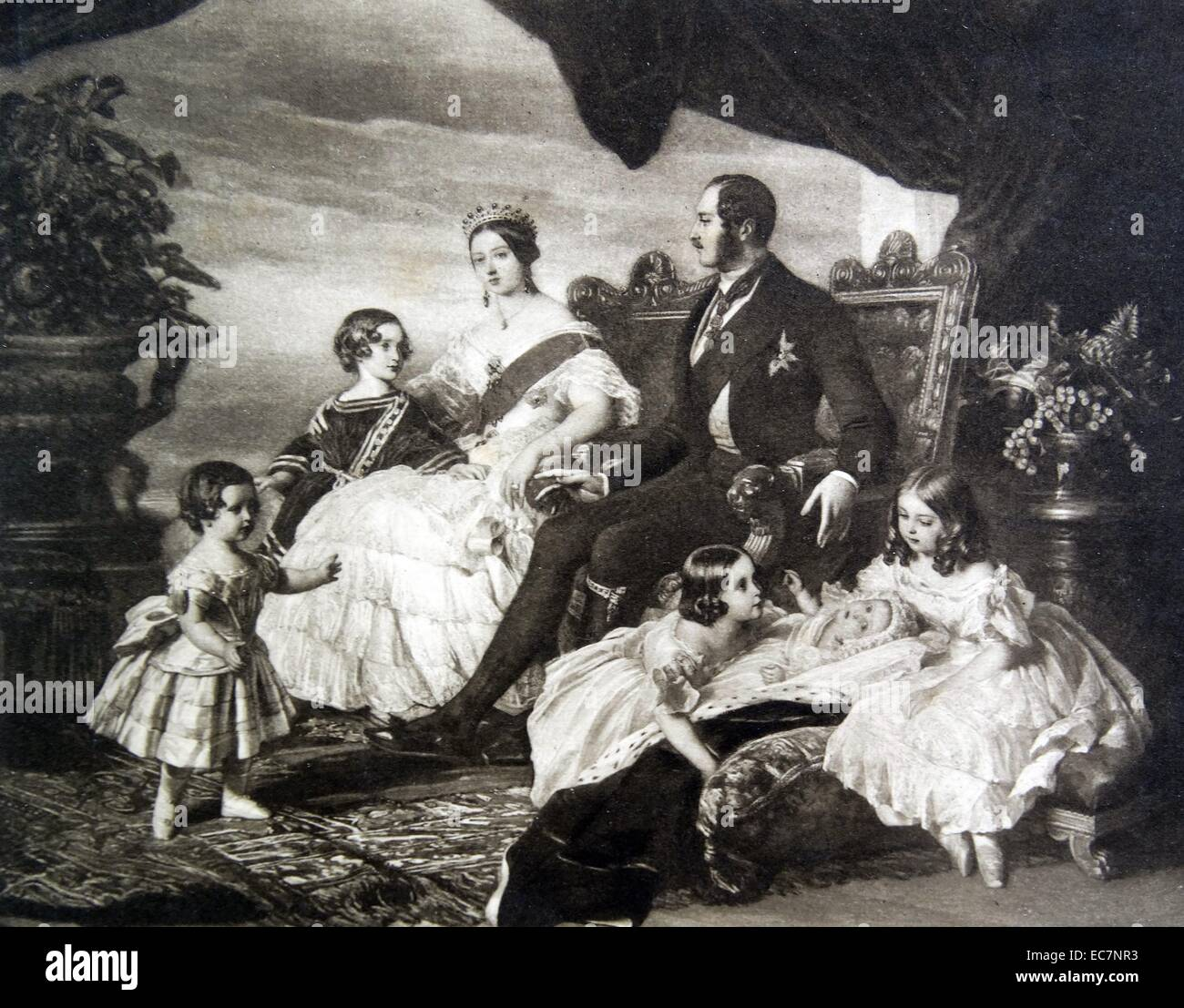 Queen Victoria and prince Consort Albert with five of their children - Stock Image