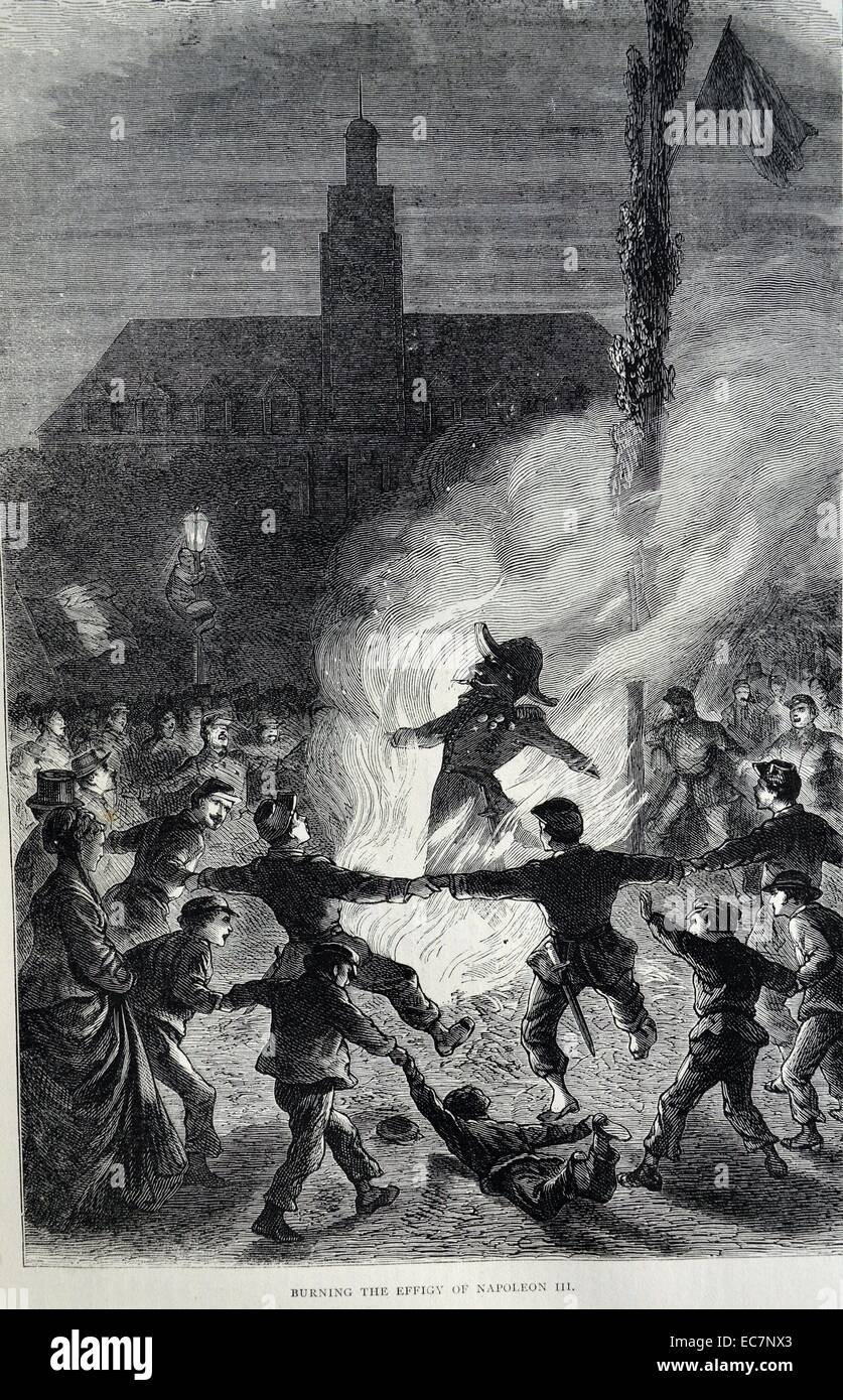 Engraving depicts the burning of an effigy of Napoleon III in public. Dated 1870 - Stock Image
