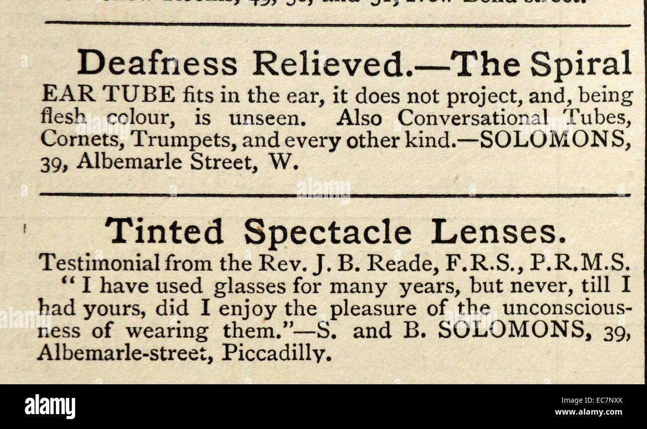 Article advertising hearing aids and tinted spectacle lenses. Dated 1870 - Stock Image