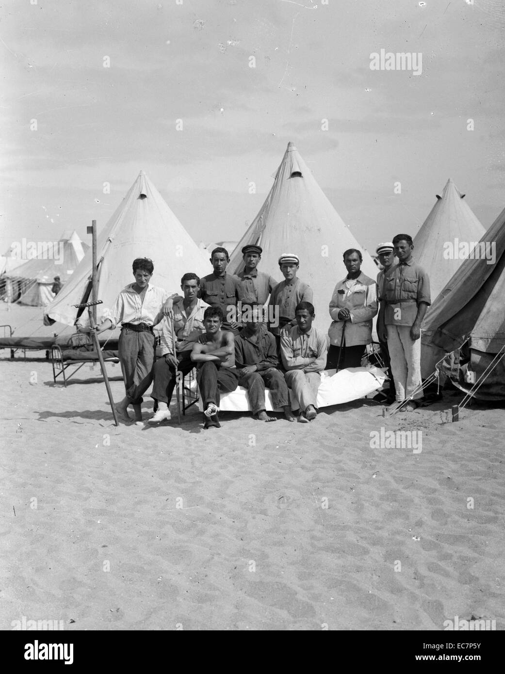 Emergency camp at Tel Aviv. Jewish colonies and settlements. - Stock Image