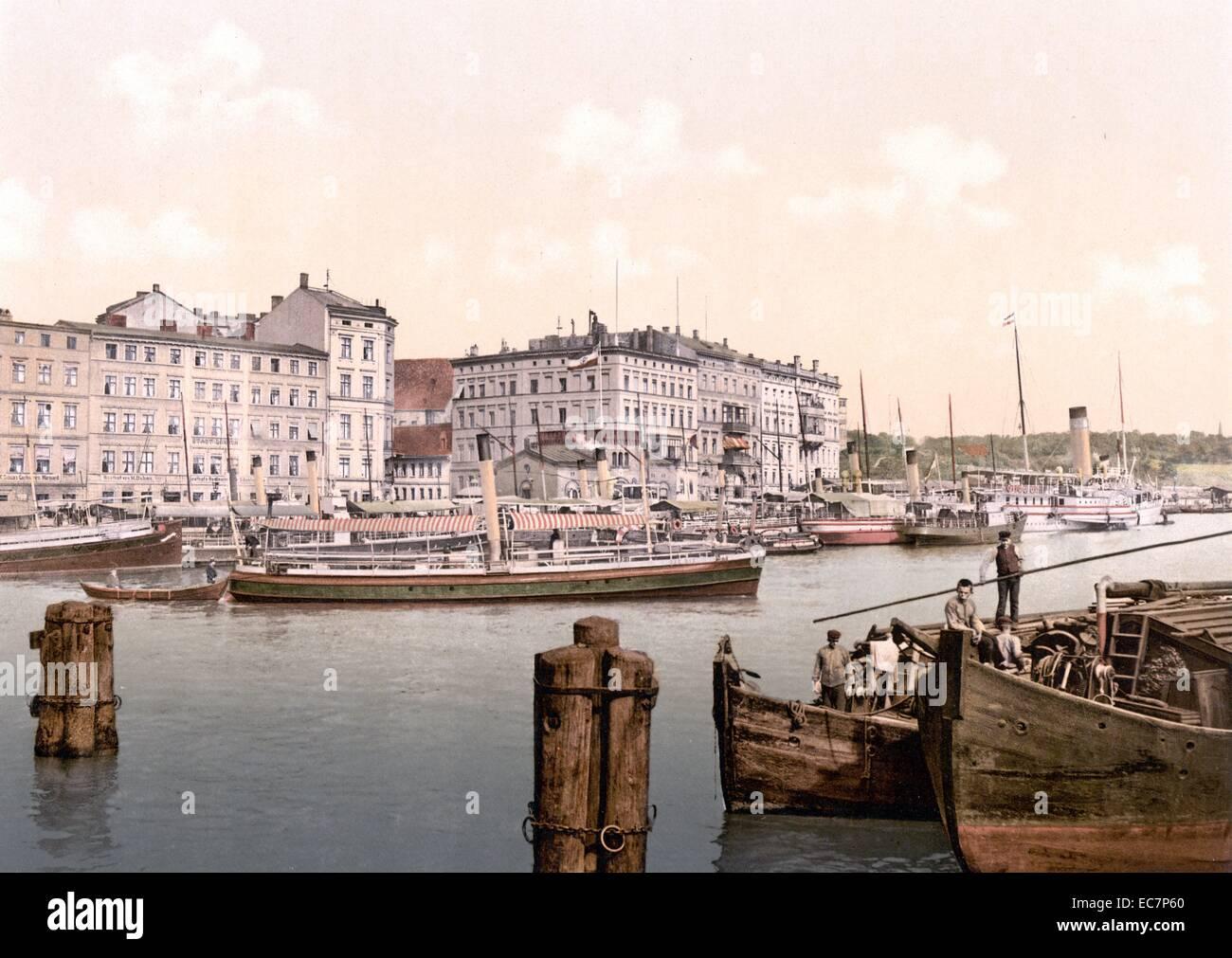 Steamship wharf, Stettin Harbour, Pomerania, Germany (Szczecin, Poland) - Stock Image