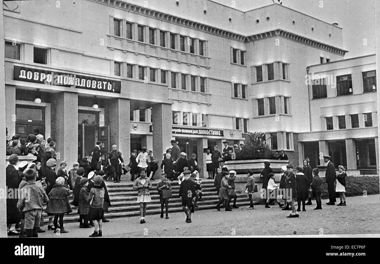 A grade school. Moscow, USSR (Union of Soviet Socialist Republics). - Stock Image