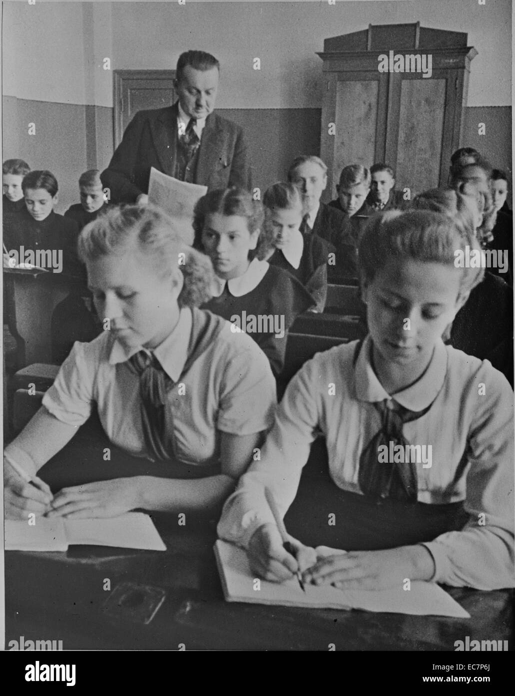 Sixth grade school room in the Latvian USSR (Union of Soviet Socialist Republics) - Stock Image