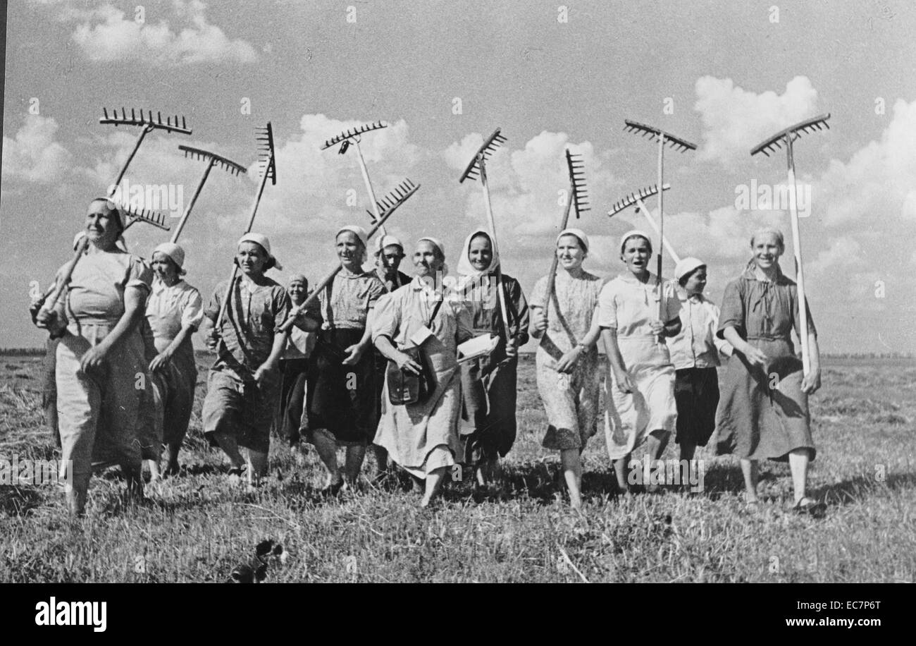 Klishevo collective farm; near Moscow; USSR (Union of Soviet Socialist Republics). A group of women collective farmers - Stock Image