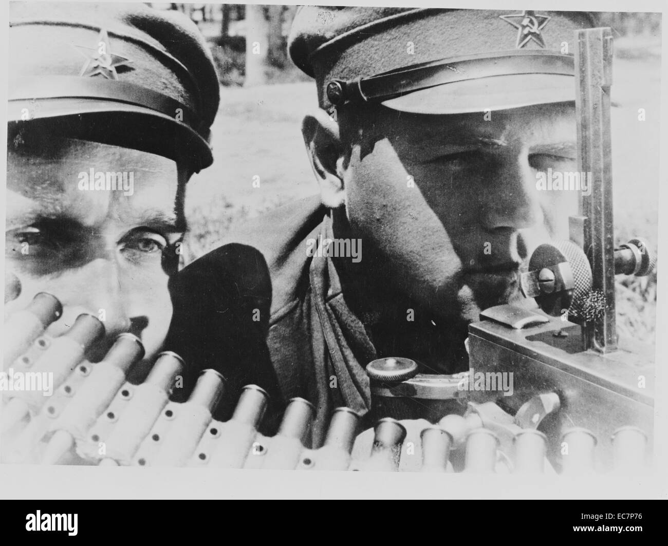 Machine gunners of the far eastern Red Army in the USSR (Union of Soviet Socialist Republics) World War II - Stock Image