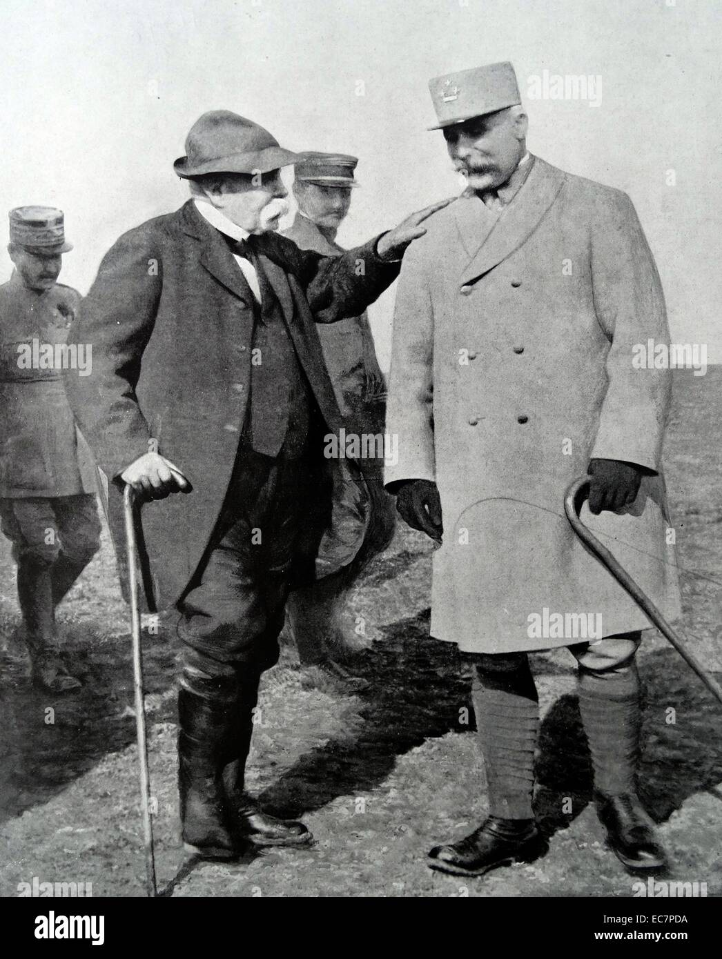French Prime minister Clemenceau and Marshall Petain reviewing positions during World War One - Stock Image