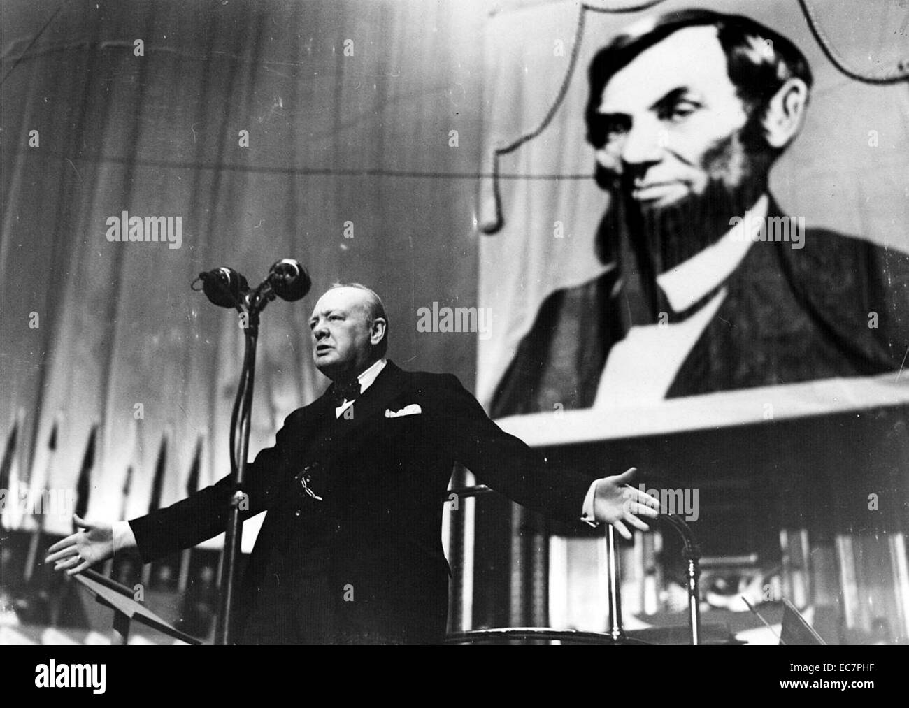 Photograph of Winston Churchill - Stock Image