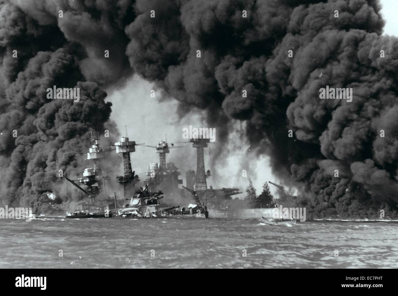 Photograph of battleships West Virginia and Tennessee burning after the Japanese attack on Pearl Harbour. Dated - Stock Image