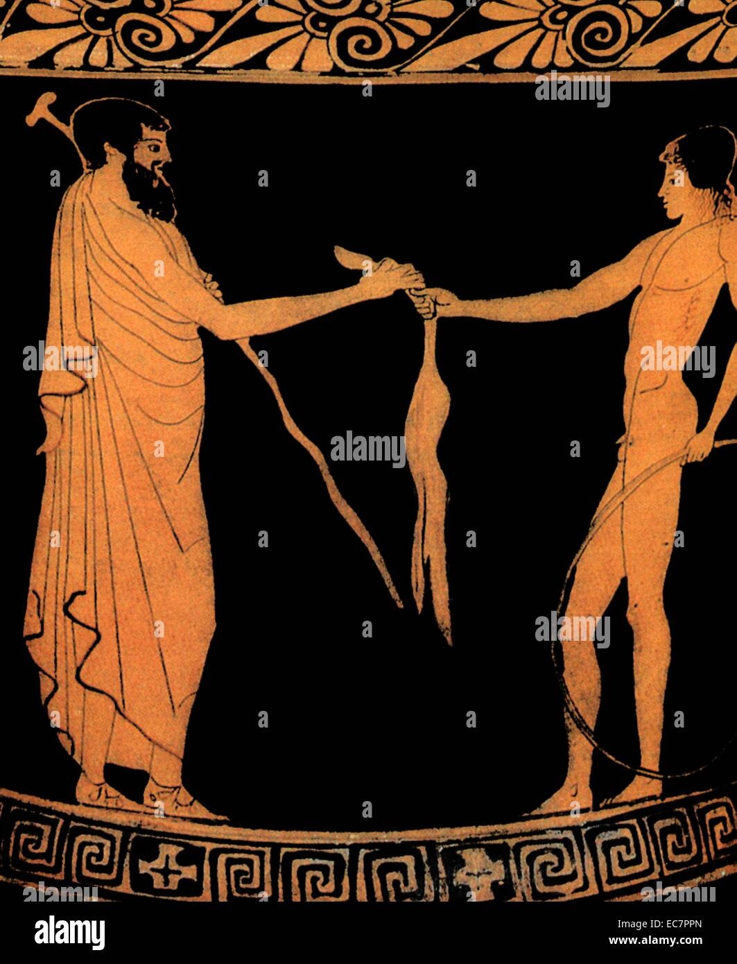 Ancient Greek Calyx krater  circa 460 BC. Depicts a man giving a present to a youth - Stock Image