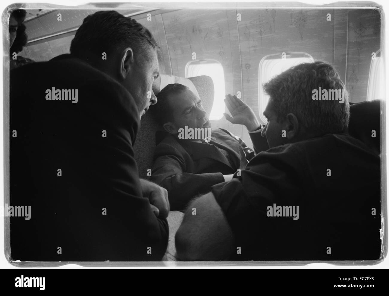 Vice President Richard Nixon and press on plane during his 1959 visit to Russia. U.S.S.R. - Stock Image