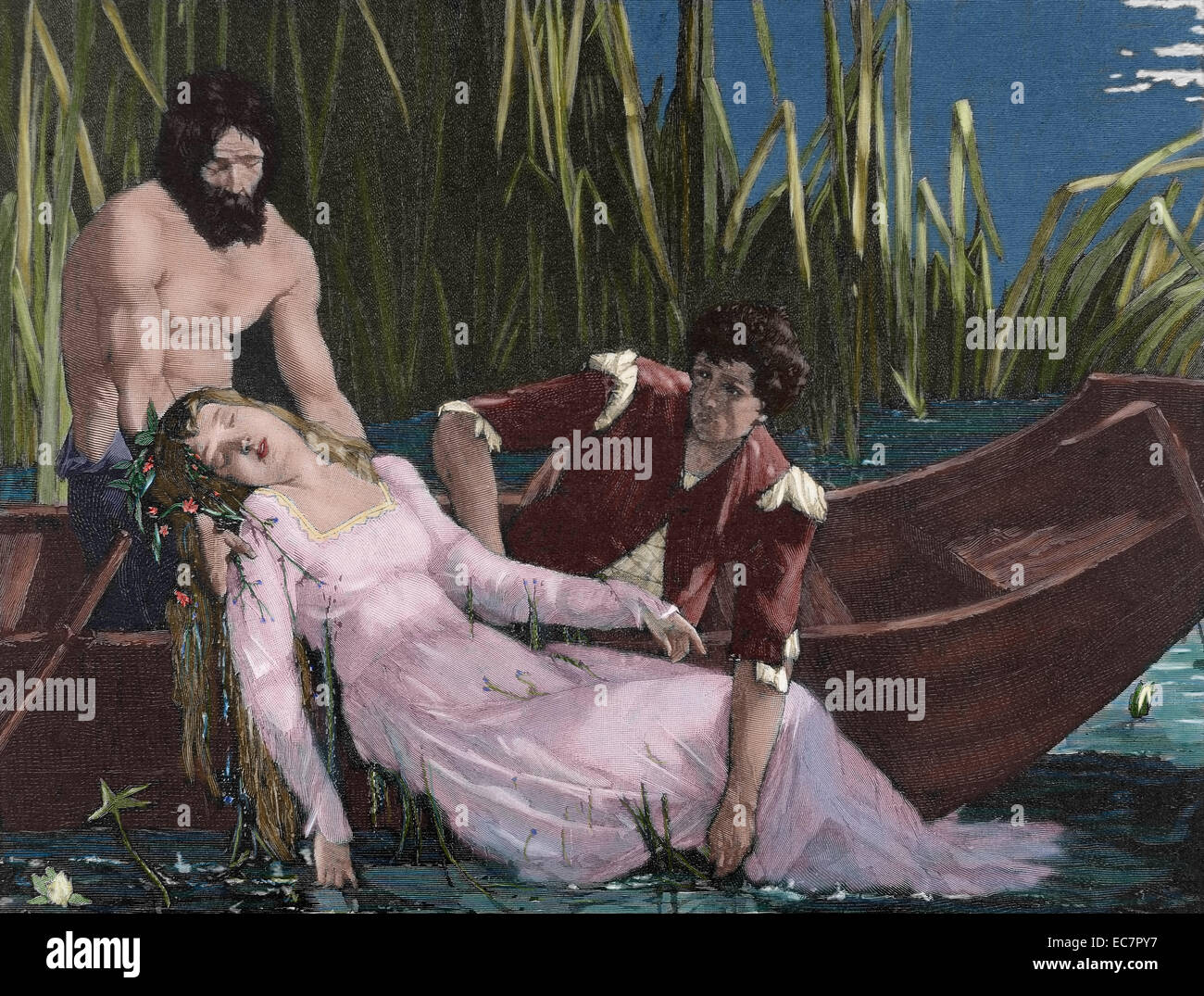 William Shakespeare (1564-1616). English writer. Hamlet. Death of Ophelia. Engraving, 19th century. Colored. - Stock Image