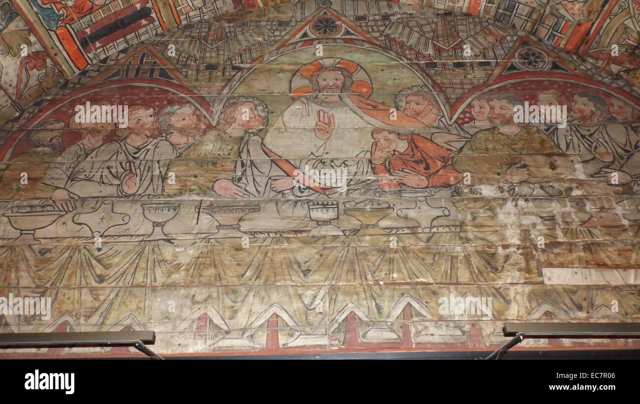 The ceiling panels preserved from a Norwegian Church dating to 1200 AD. The last supper is shown - Stock Image