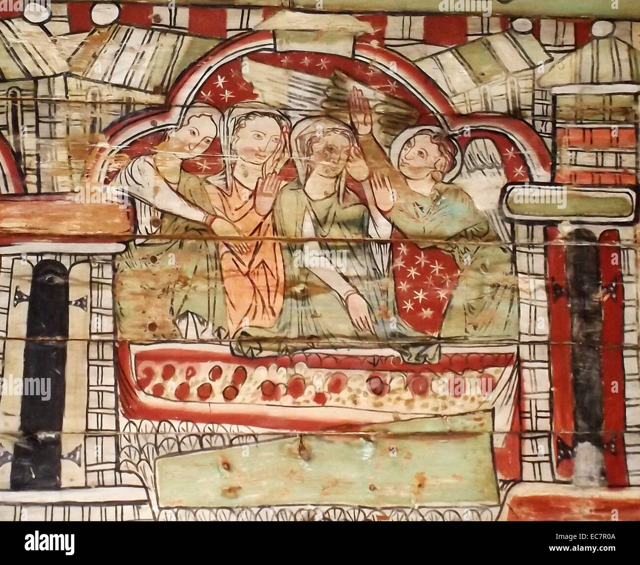 The ceiling panels preserved from a Norwegian Church dating to 1200 AD. The Annunciation to Mary is shown - Stock Image