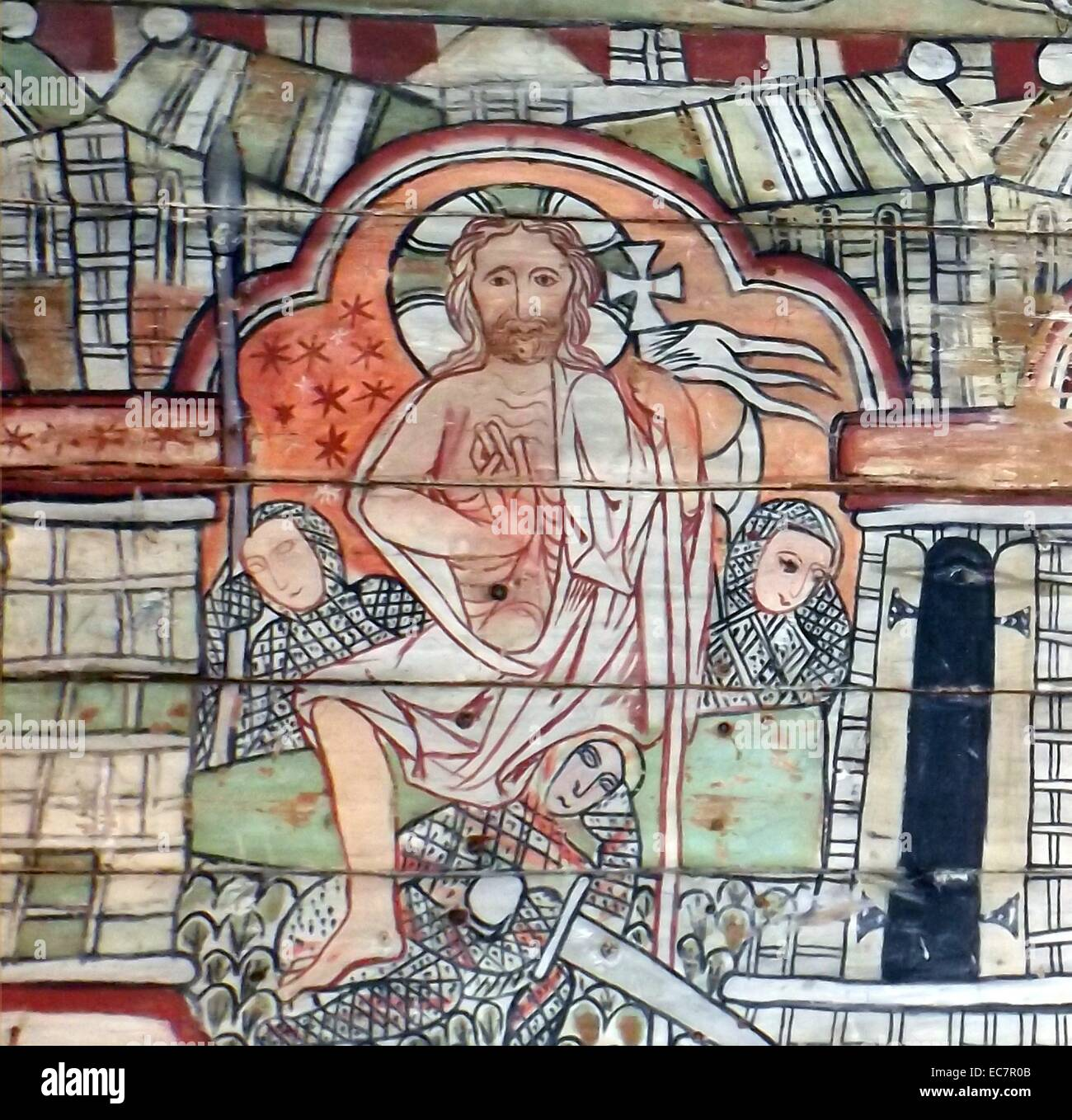 The ceiling panels preserved from a Norwegian Church dating to 1200 AD. Resurrection of Jesus is shown - Stock Image