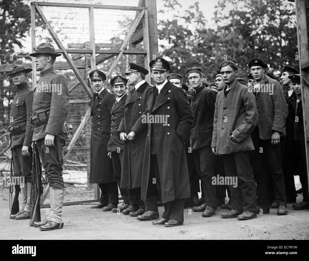 Photograph of Captured German Officers and Crew - Stock Image