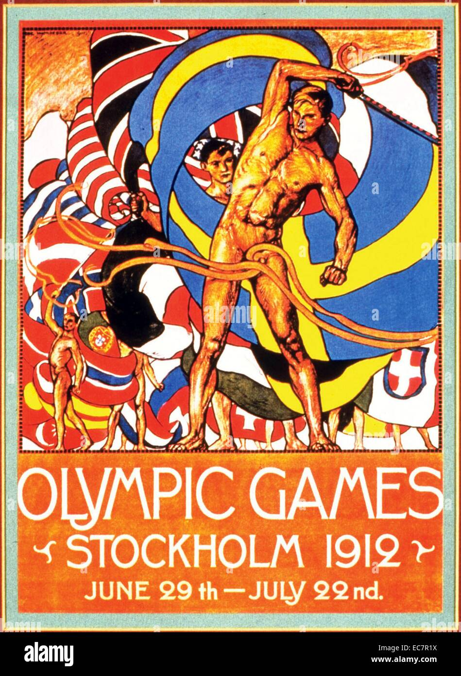 Colour poster advertising the Stockholm Olympic Games. Dated 1912 - Stock Image