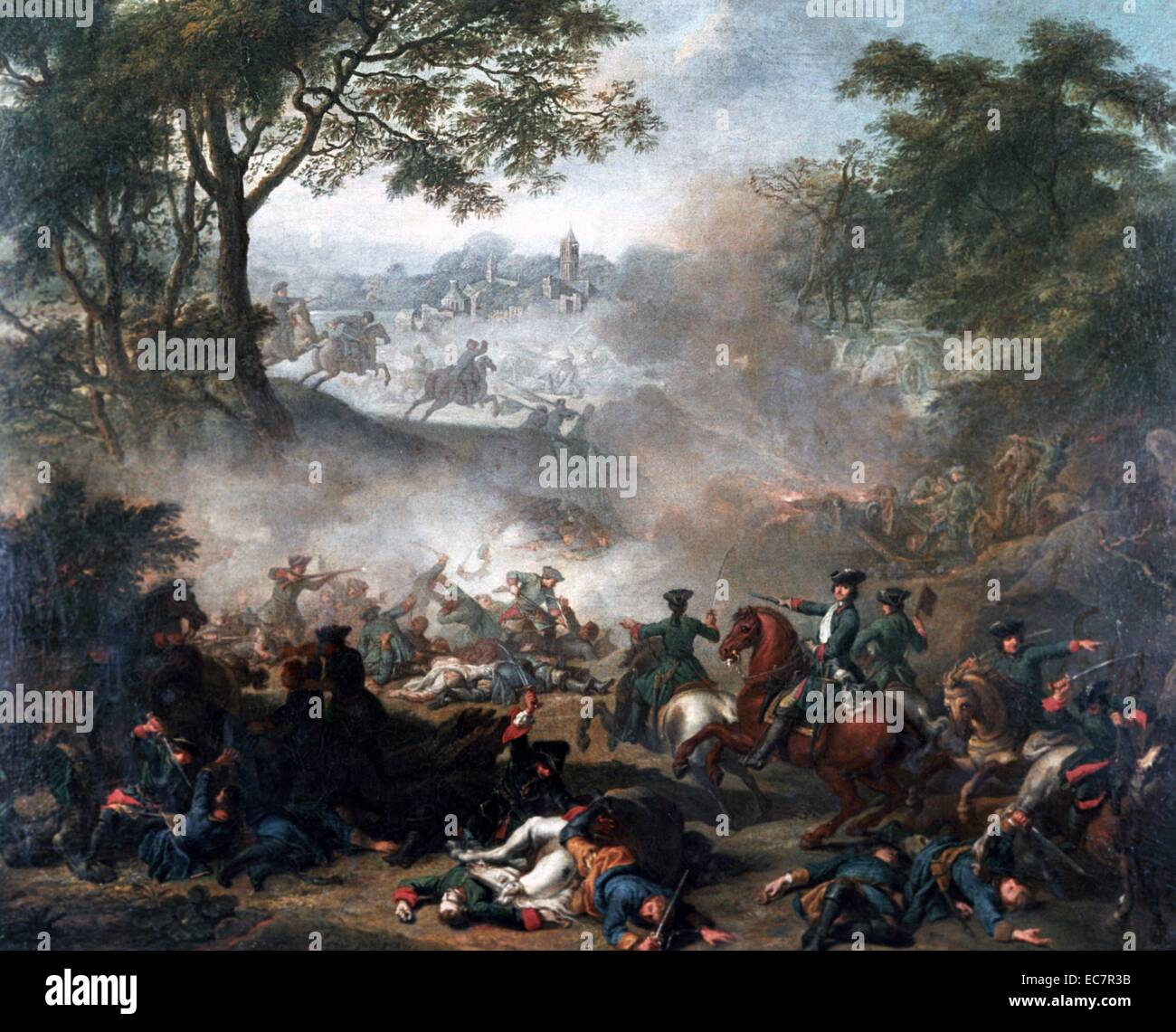 Painting of the Battle of Lesnaya, one of the major battles of the Great Northern War. Dated 1708 - Stock Image