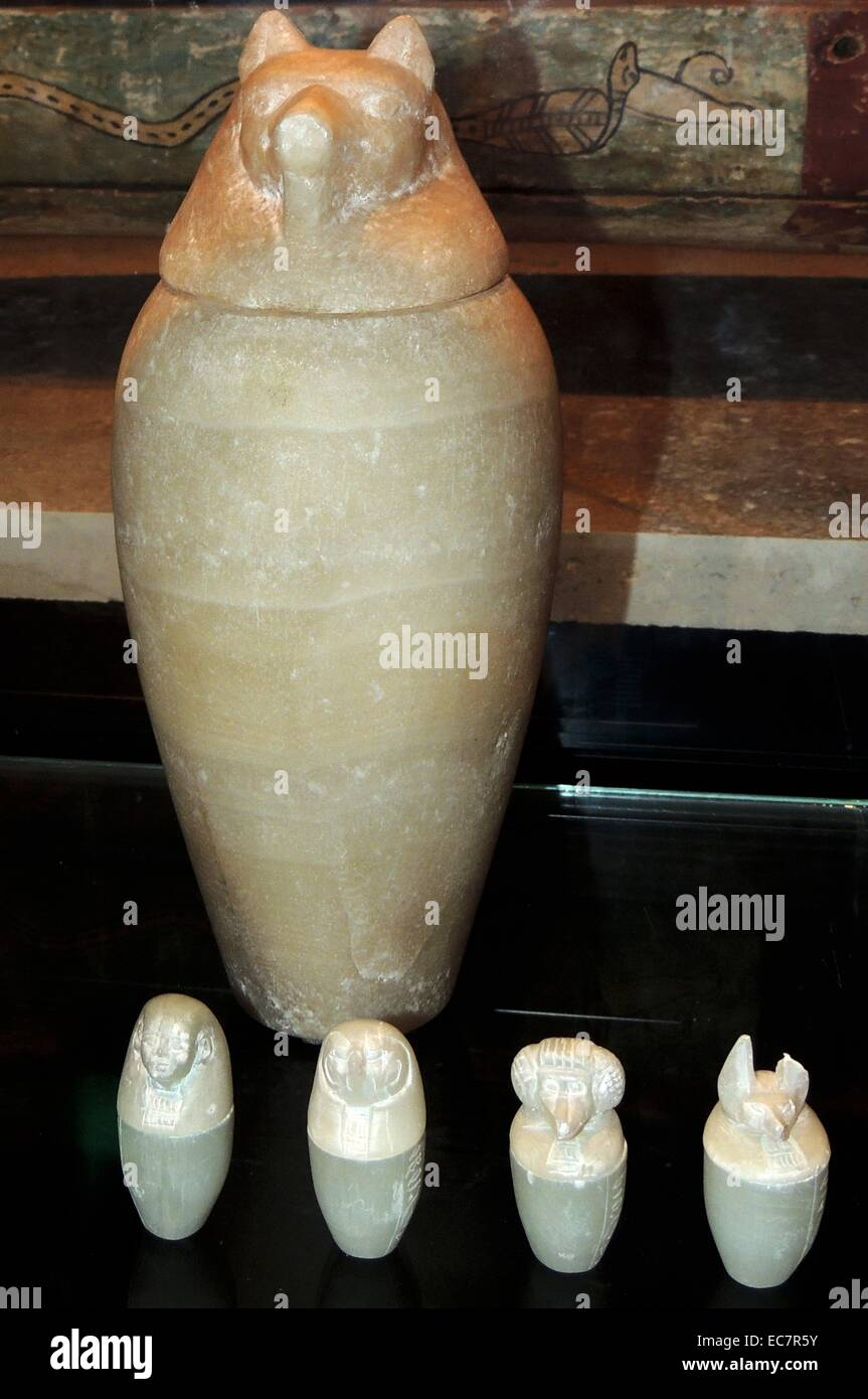 Canopic jars were used by the ancient Egyptians during the mummification process - Stock Image
