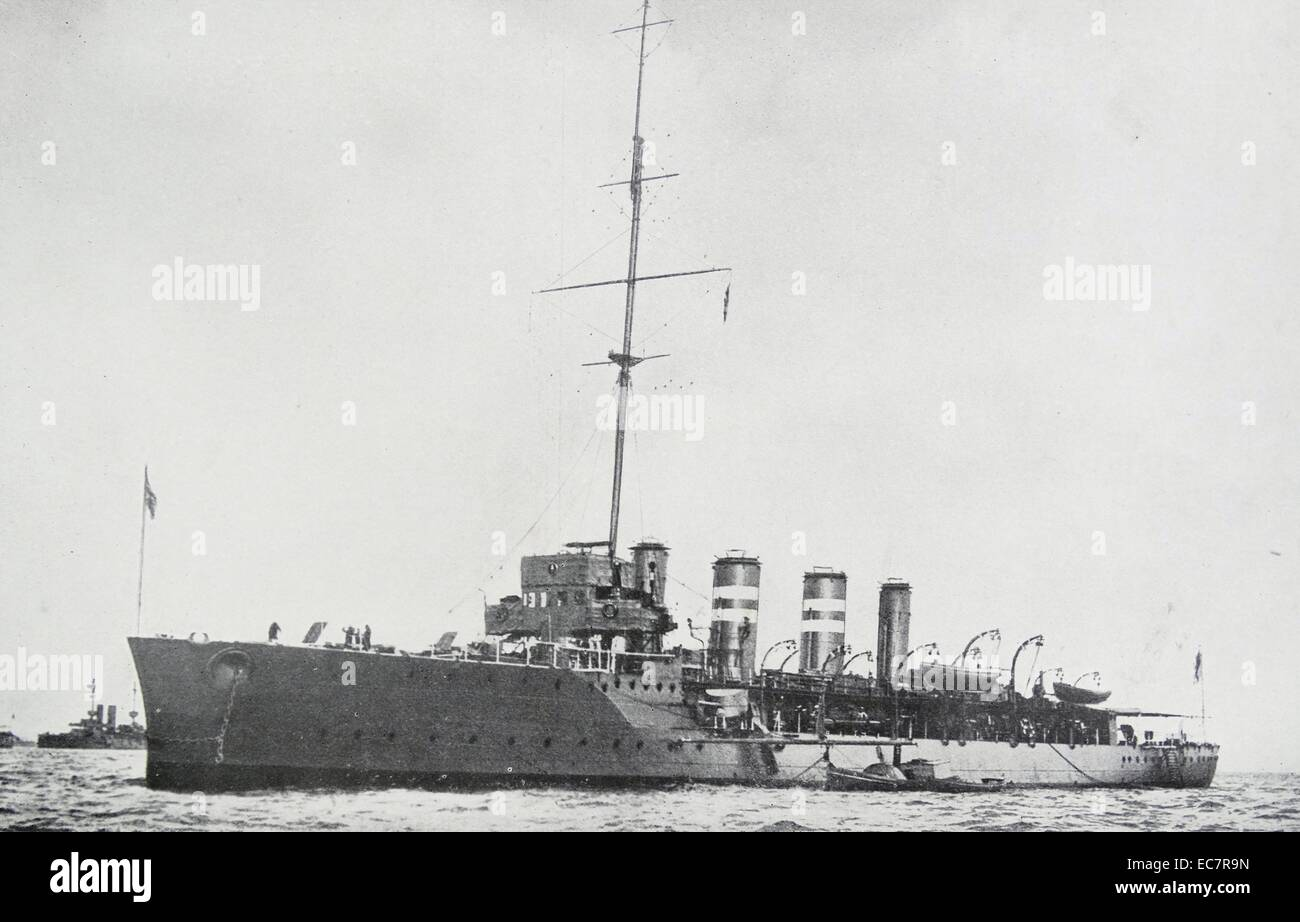 the HMS Amphion, a cruiser of the Royal navy And the first ship of the Royal Navy to be sunk in the First World - Stock Image