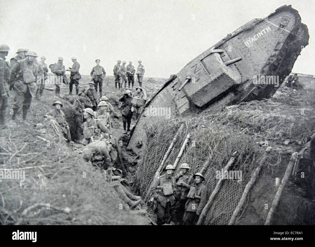 First World War, German Mark IV tank 'Hyacinth' stuck in a trench to the west of Ribecourt. November 20, - Stock Image