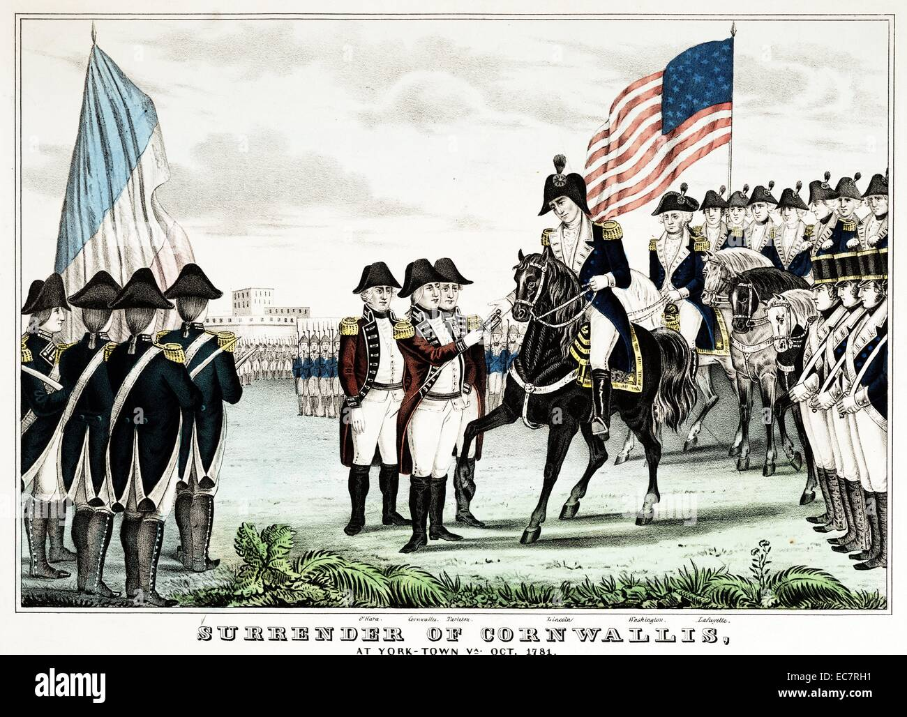 Surrender of General Cornwallis; at York-Town Virginia; USA in 1781.  Creator N. Currier c1846. Print shows Major General