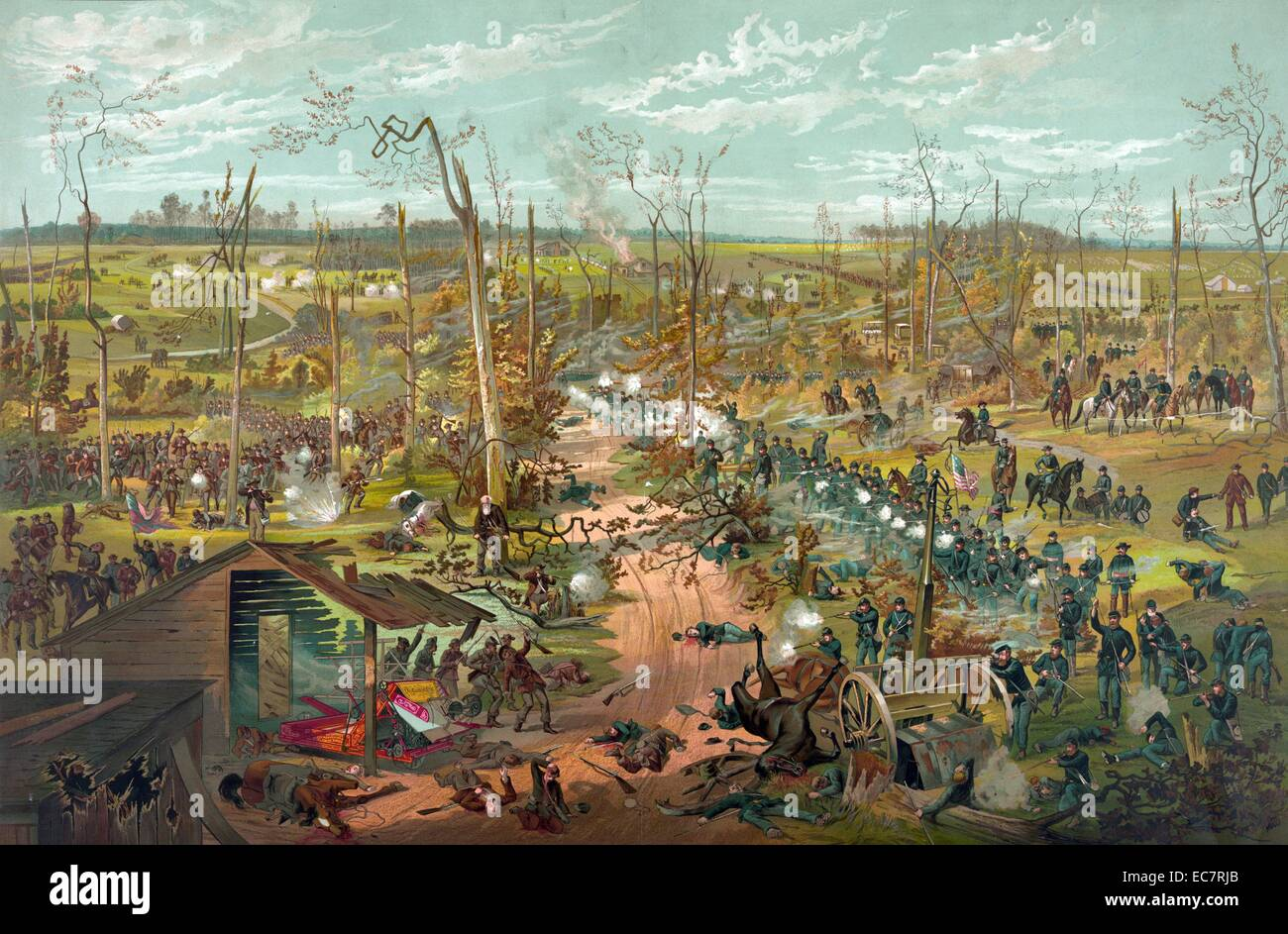 Battle of Shiloh April 6th 1862. A roadway; possibly Corinth Road; separating the Union forces under the command - Stock Image