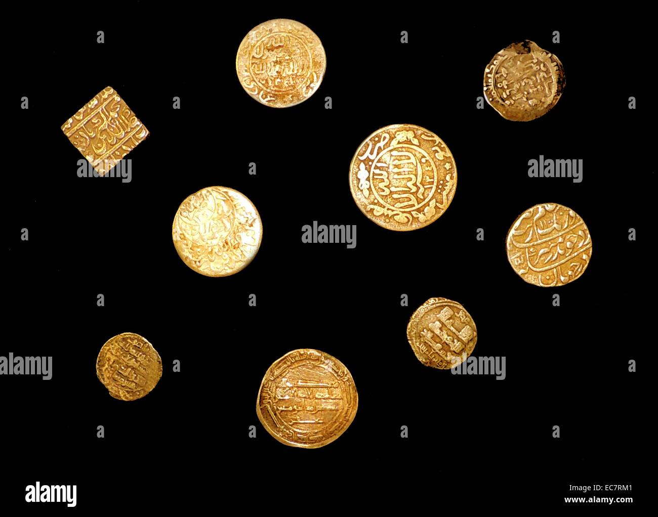A collection of Antique Islamic Coins. - Stock Image