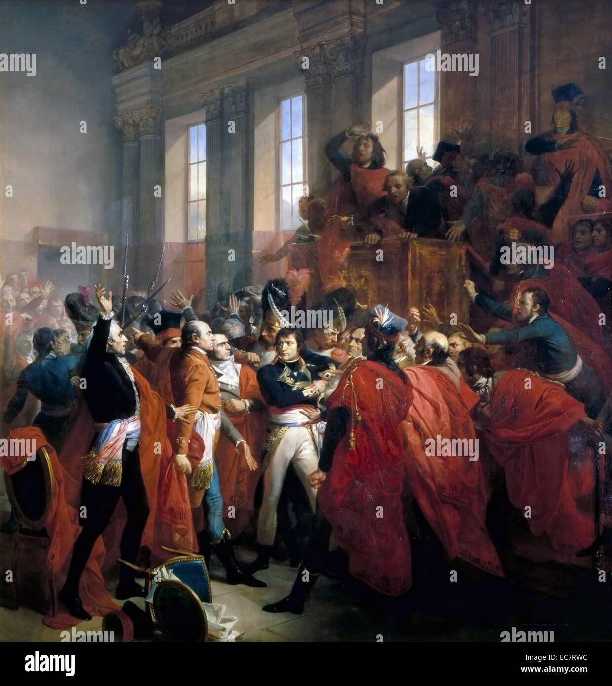 1840 Francois Bouchot's depiction of Napoleon Bonaparte at the Council of 500, in Saint Cloud, November 10 1799 - Stock Image