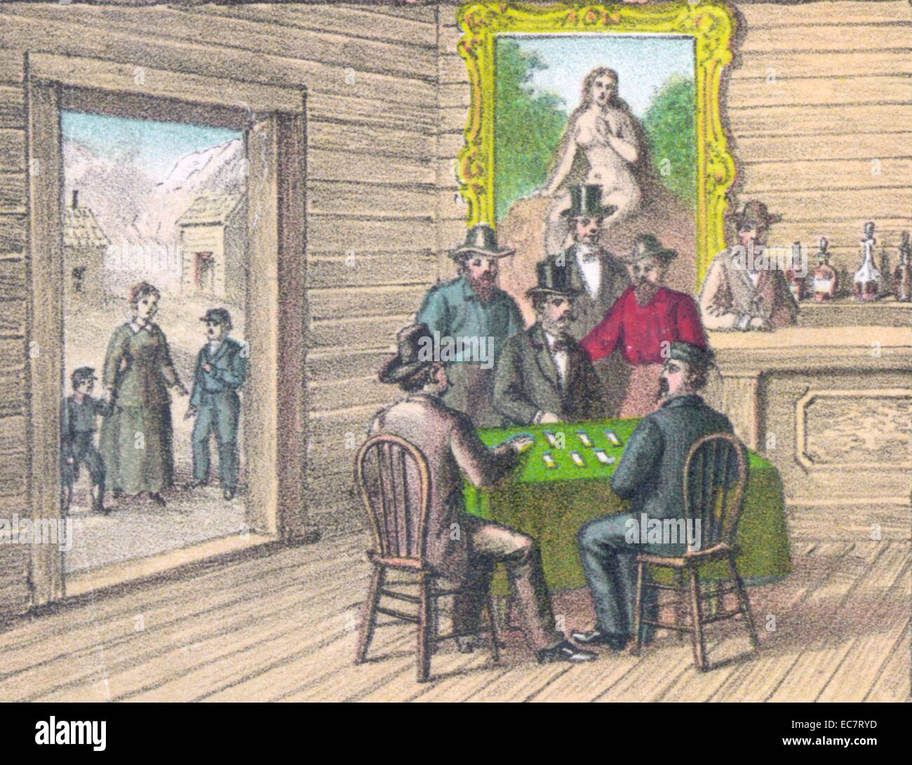 American Wild West saloon, showing a group of men playing cards 1849 - Stock Image