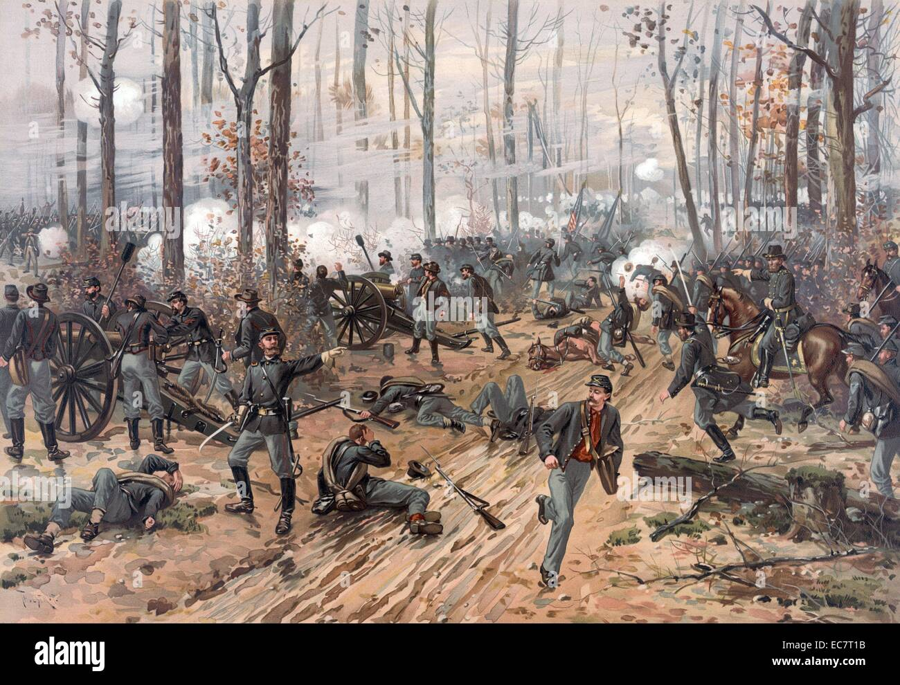 Battle of Shiloh, known as the Battle of Pittsburgh Landing. A battle between the United States Union and the Confederate - Stock Image