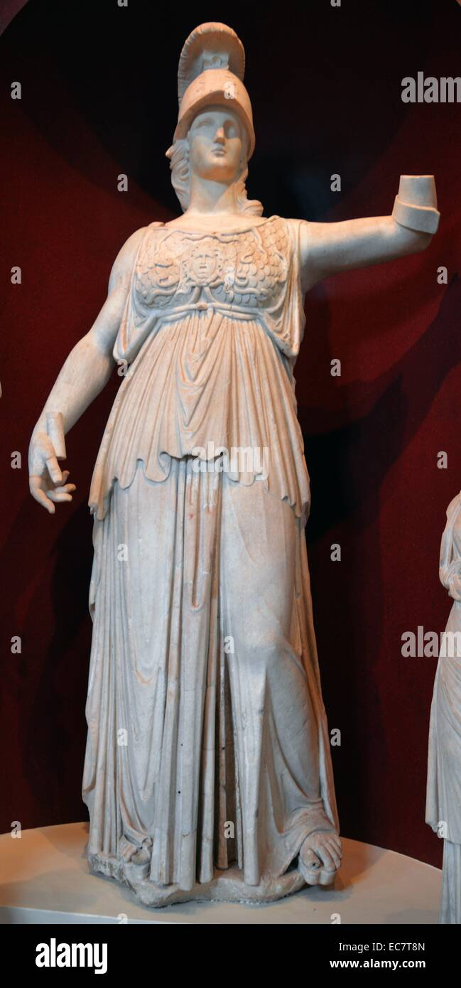 Colossal marble statue of Athena. - Stock Image