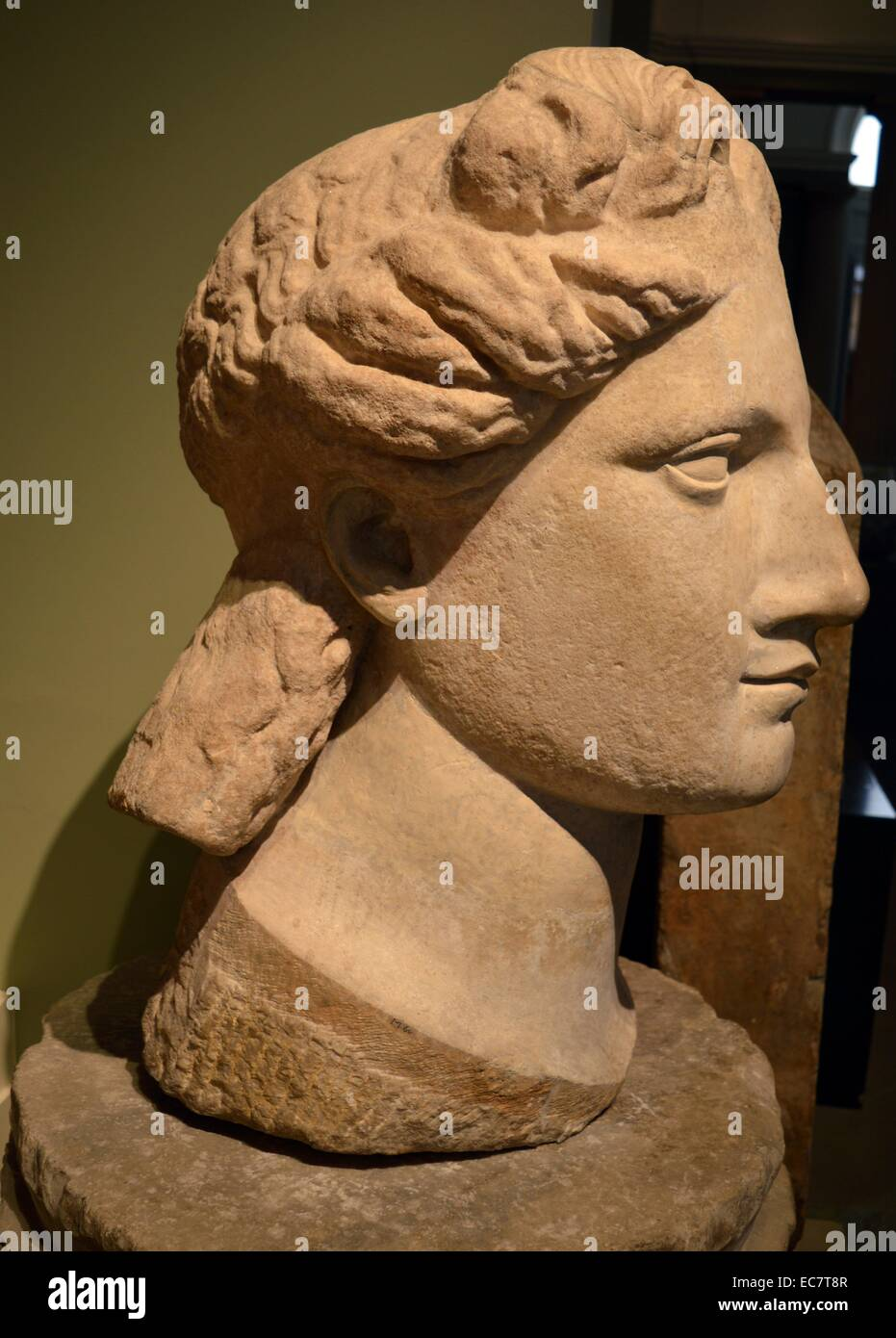 Colossal marble head of Apollo. - Stock Image