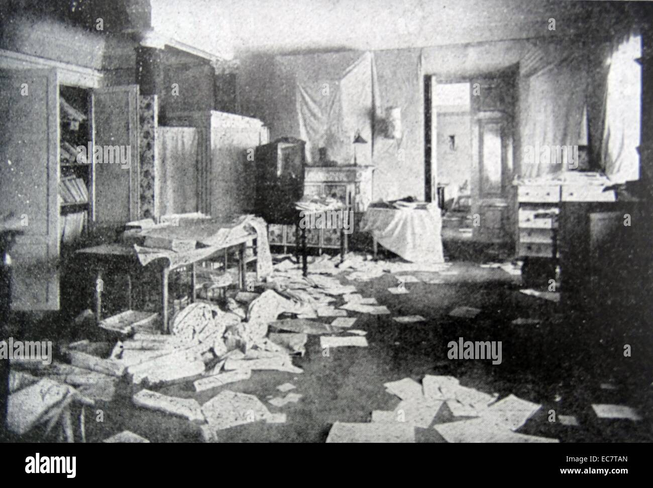 Room of the Grand Duchess Tatiana of Russia, looted during the Russian revolution 1917 - Stock Image